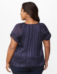 Roz & Ali Navy Dot Bubble Hem Blouse - Plus - Navy/White - Back