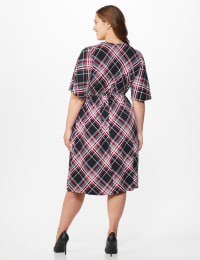 Classic Plaid  Faux Wrap Dress - Plus - Black - Back