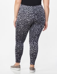 Zac & Rachel Animal Print Legging - Plus - Grey/Black Animal - Back