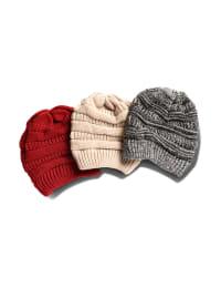 Novelty Cable Rib Hat - Heather Grey - Back