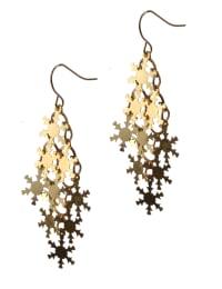 Snowflake Chandelier Earrings - Brass - Back