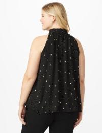 Foil Printed Sleeveless Mock Neck Blouse - Plus - Black - Back