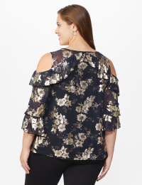 Roz & Ali Gold Floral Cold Shoulder Blouse - Plus - Black - Back