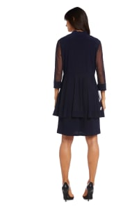 Knee-Length Dress with Beaded Neckline and Soft Jacket with Sheer Sleeves - Petite - Navy - Back