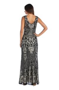 Sequined Maxi Gown with V-Neck and Fitted Silhouette - Petite - Black / Gold - Back