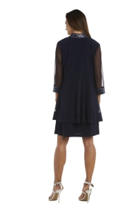 Dress and Jacket Set with Sheer Sleeves and Embellished Edges - Petite - Navy - Back