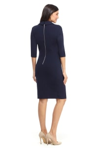Scuba Crepe V-Neck Sheath Dress - Navy - Back