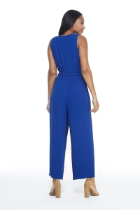 Ruffle V-Neck Jumpsuit - Misses - Royal - Back