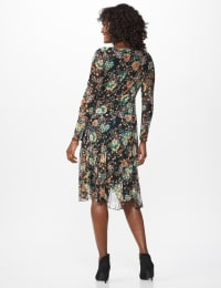 Bright Floral  Midi Dress - Teal - Back