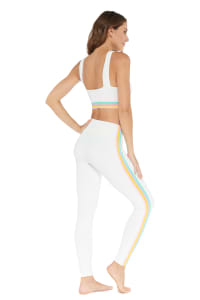 Elliot Rainbow Stripe Legging - White - Back