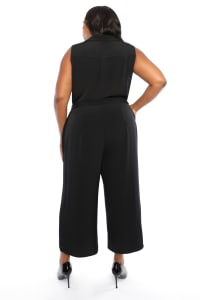 Notch Lapel Cropped Crepe Jumpsuit - Plus - Black - Back