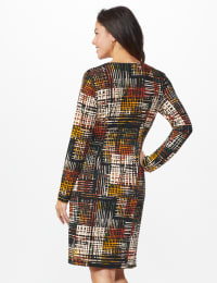 Etched Plaid Wrap Dress - Rust - Back