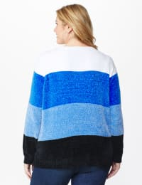 Roz & Ali Chenile Colorblock Pullover Sweater - Plus - Denim Combo - Back