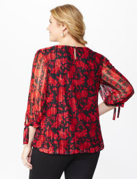 Roz & Ali Floral Tie Sleeve Bubble Hem Blouse - Plus - Red - Back