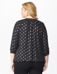 Roz & Ali Gold Foil Bubble Hem Blouse - Plus - Black/Gold - Back