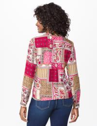 Westport Patchwork Tie Front Shirt - Misses - Multi - Back