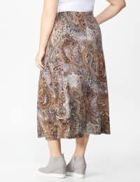 Plus Roz & Ali Printed Hacci Aline Maxi Skirt - Brown/gold/black - Back