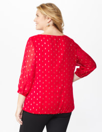 Roz & Ali Red Foil Bubble Hem Blouse - Plus - Red - Back
