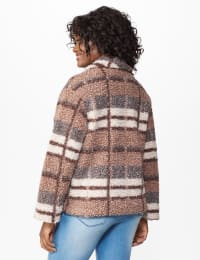 Plaid Zip Front Faux Sherpa Jacket - Brown plaid - Back