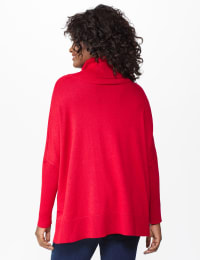 Westport Novelty Turtle Neck Poncho - Shetland Red/Black - Back