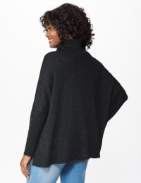 Westport Novelty Turtle Neck Poncho - True Black/White - Back