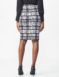 Printed Scuba Crepe Pencil Skirt - Black/Sugar Swizzle - Back