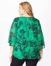 Roz & Ali Green Lurex Floral Flyaway Blouse - Green - Back