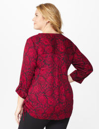 Roz & Ali Red Floral Side Tie Popover Blouse - Red/Black - Back