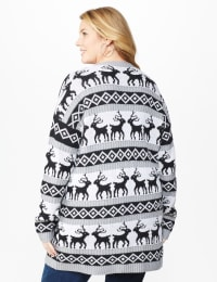 Westport Fair Isle Reindeer Duster Cardigan - Plus - Grey/White/Black - Back