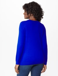 Roz & Ali Rhinestone Pullover Sweater - Misses - Royal - Back