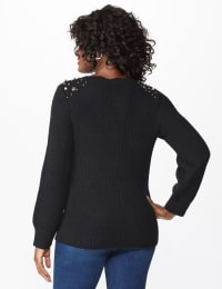Westport Scallop Neck Jewel Pullover - Black - Back