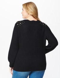 Westport Scallop Neck Jewel Pullover  - Plus - Black - Back