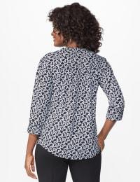 Roz & Ali Link Print Pintuck Popover - Black/white - Back