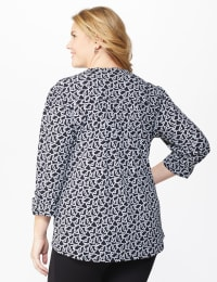 Roz & Ali Link Print Pintuck Popover - Plus - Black/White - Back