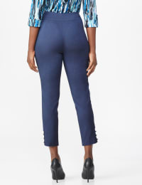 Roz & Ali Superstretch Pull On Ankle Pants with Rhinestone Ring Detail  - Misses - Dark Denim - Back