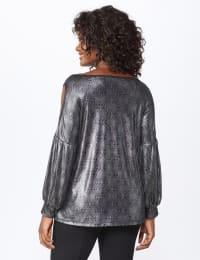 Roz & Ali Cold Shoulder Metallic Knit Top - Misses - Silver/Black - Back