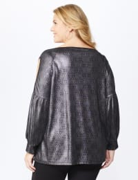 Roz & Ali Cold Shoulder Metallic Knit Top - Plus - Silver/Black - Back
