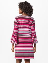 Stripe Soft Knit Dress - Misses - Multi - Back