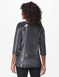 Roz & Ali Velvet Shimmer Dot Tunic Knit Top - Black - Back