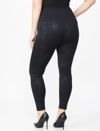 Zac & Rachel Black Plaid Legging - Plus - Black Plaid - Back
