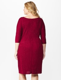 Glitter Knit Wrap Dress  - Plus - wine - Back