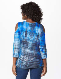 Westport Tie Dye Knit Top - Blue - Back