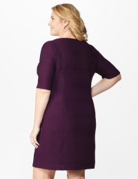 Ribbed Bandage Dress - Plus - Bordeaux - Back
