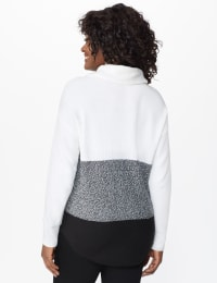 Westport Colorblock Cowl Neck Curved Hem Sweater - Winter White/Onyx - Back