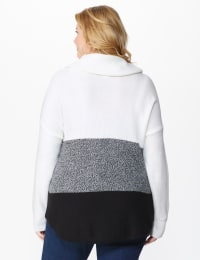 Westport Colorblock Curved Hem Sweater - Plus - Winter White/Onyx - Back