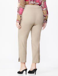 Roz & Ali Solid Superstretch Tummy Panel Pull On Ankle Pants With Rivet Trim Bottom - Plus - dune - Back