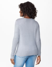 Pre-Order Roz & Ali Sparkle Pullover Sweater - Misses - Heather Grey - Back