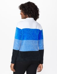 Roz & Ali Chenile Colorblock Pullover Sweater - Denim Combo - Back