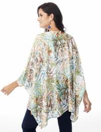 Palm Print Lace Kimono - Misses - Multi - Back