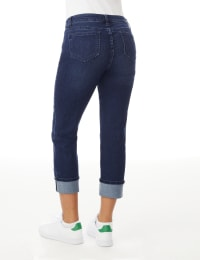 Westport Signature  5 Pocket Girlfriend Jean With Selvedge Cuff - Dark Wash - Back